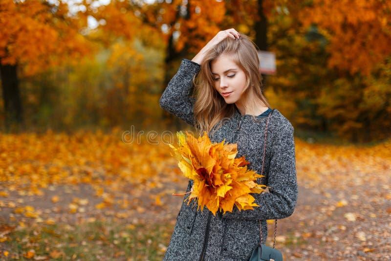 De elegante jonge aantrekkelijke vrouw in een luxueuze grijze laag bevindt zich in een esdoorn gele bladeren van de parkholding V royalty-vrije stock foto