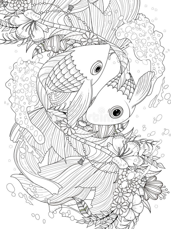 De elegante kleurende pagina van het goudvispaar stock illustratie