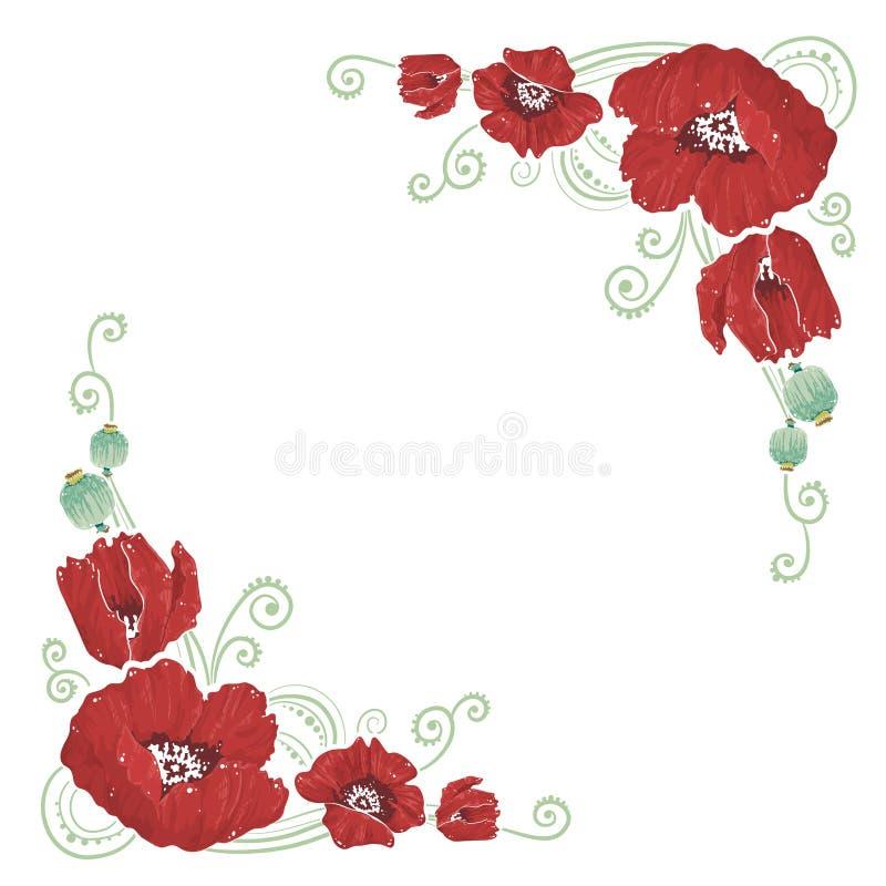 De elegante krommen bloeien hoeken royalty-vrije illustratie