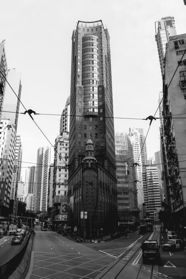 De elegante lange bureaubouw in Hong Kong Island stock afbeeldingen