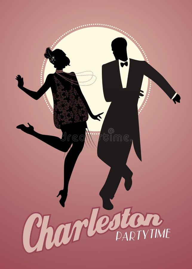 De elegante paarsilhouetten die 20 ` s stijl dragen kleedt dansend Charleston stock illustratie