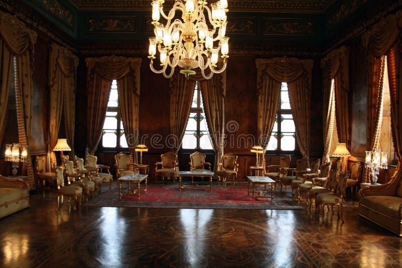 De elegante ruimte van de Ontvangst - Mohamed Ali Palace in Egypte stock foto