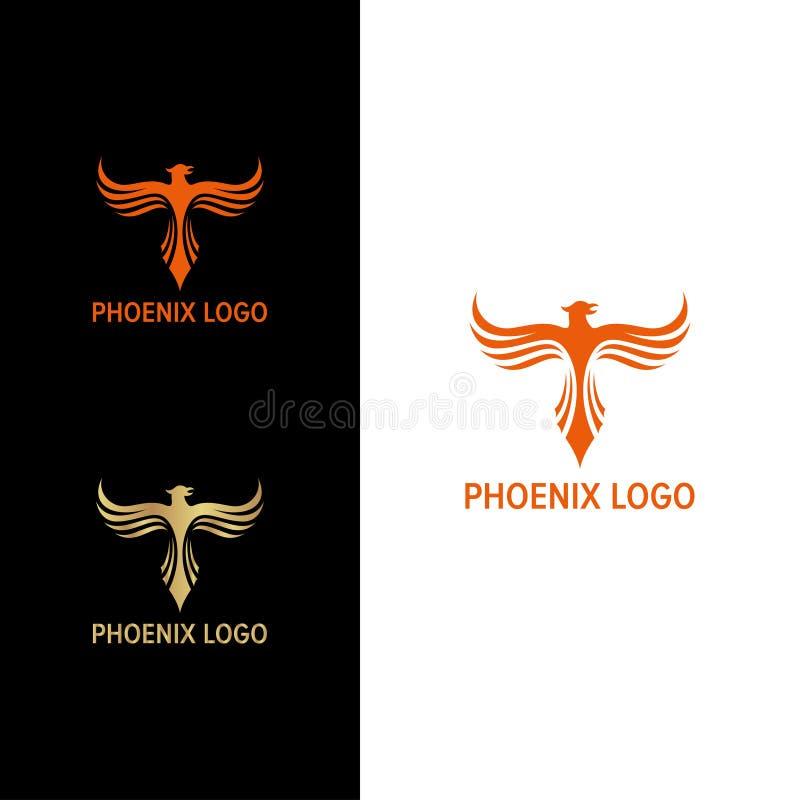 De elegante Vlieg van Phoenix omhoog met Lijn Wing Logo vector illustratie
