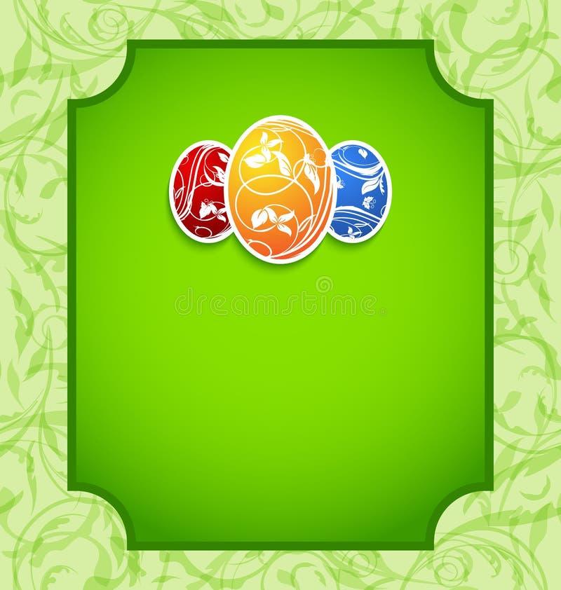 De elegantiekaart van Pasen met kleurrijke eieren vector illustratie