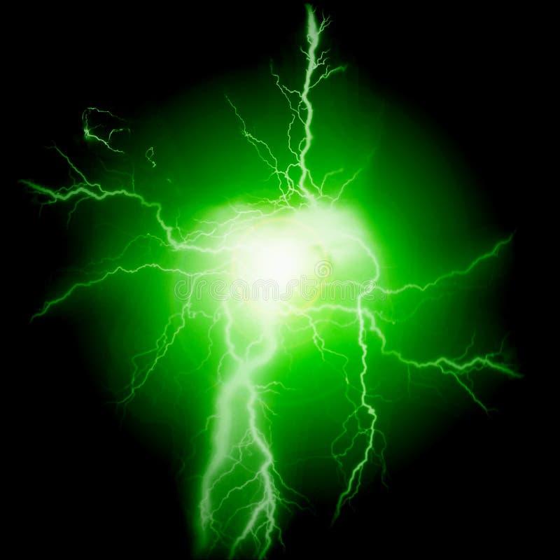 De Elektriciteit van de bliksemenergie bout Groen vast royalty-vrije stock afbeeldingen