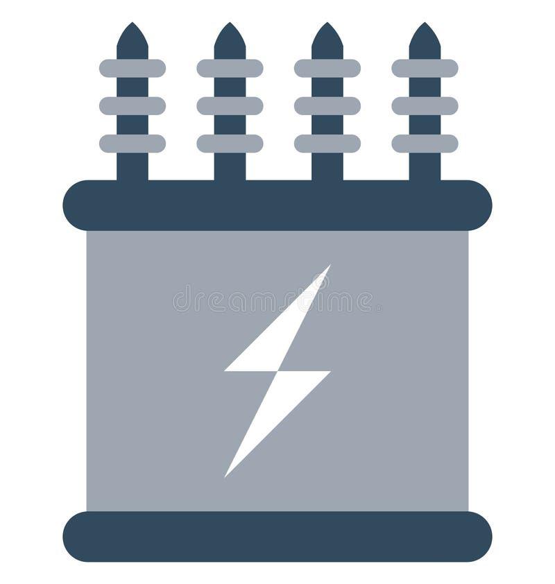 De elektriciteitstransformator isoleerde Kleuren Vectorpictogram dat gemakkelijk kan worden gewijzigd of uitgeven stock illustratie