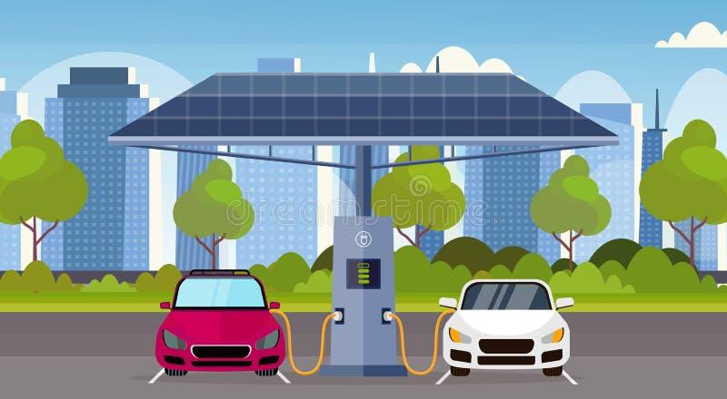 De elektrische auto's die op elektrolastenpost met vriendschappelijk het vervoermilieu van zonnepanelen vernieuwbaar eco belasten vector illustratie