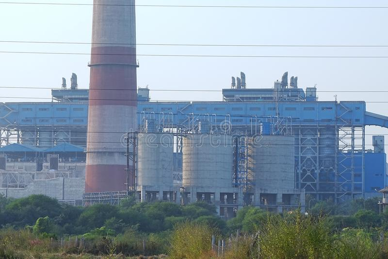 De Elektrische centrale van NSPCL Bhilai, Bhilai Chhattishgarh royalty-vrije stock foto's