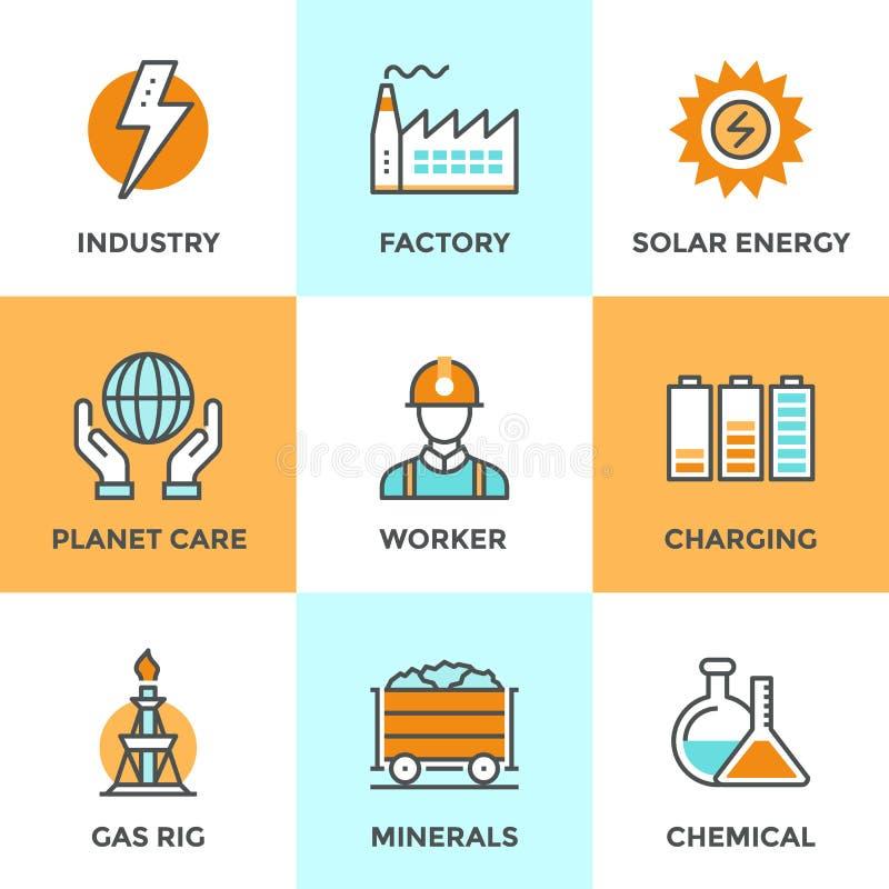 De elektrische geplaatste pictogrammen van de de industrielijn royalty-vrije illustratie