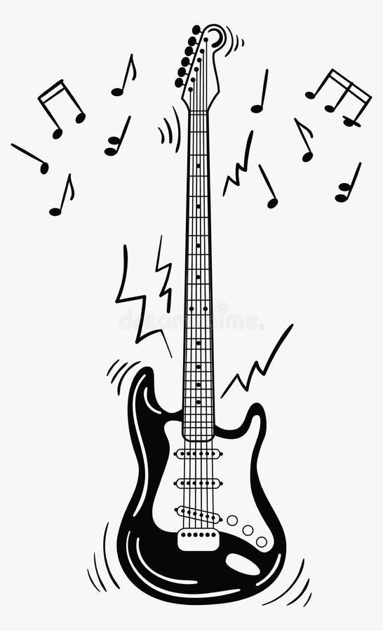 De elektrische gitaar maakt een geluid Zwart-witte gitaar met nota's Muzikaal instrument Muzikaal embleem Geïsoleerde modieus vector illustratie