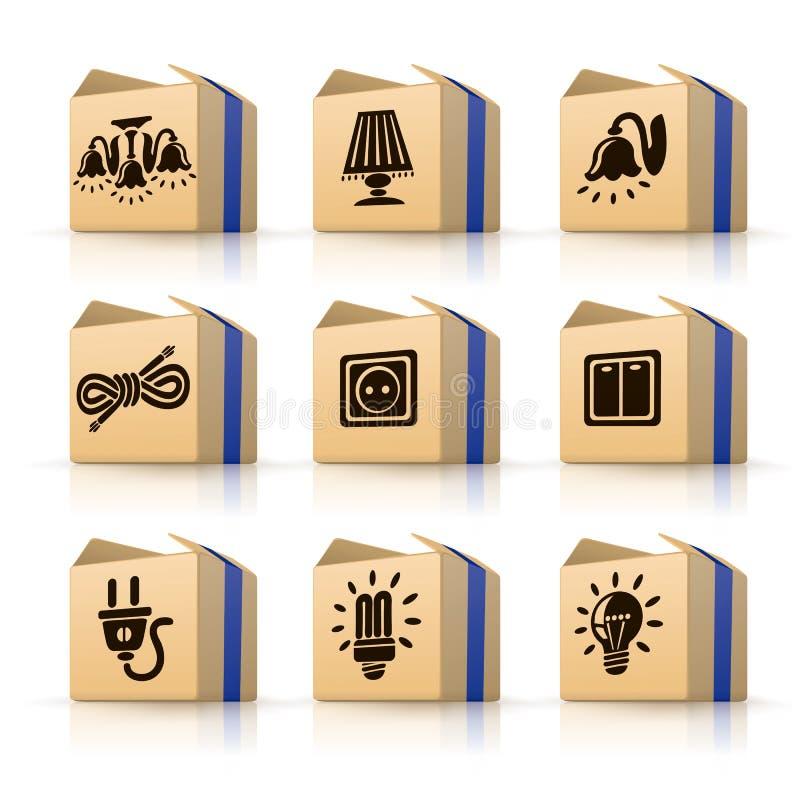 De elektrische hulpmiddelen van pictogrammen in dozen vector illustratie