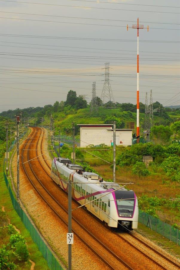 De elektrische Uitdrukkelijke Trein van de Link van het Spoor stock afbeeldingen