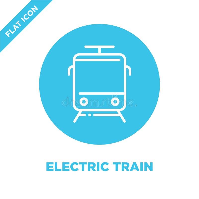 de elektrische vector van het treinpictogram De dunne van het het overzichtspictogram van de lijn elektrische trein vectorillustr royalty-vrije illustratie