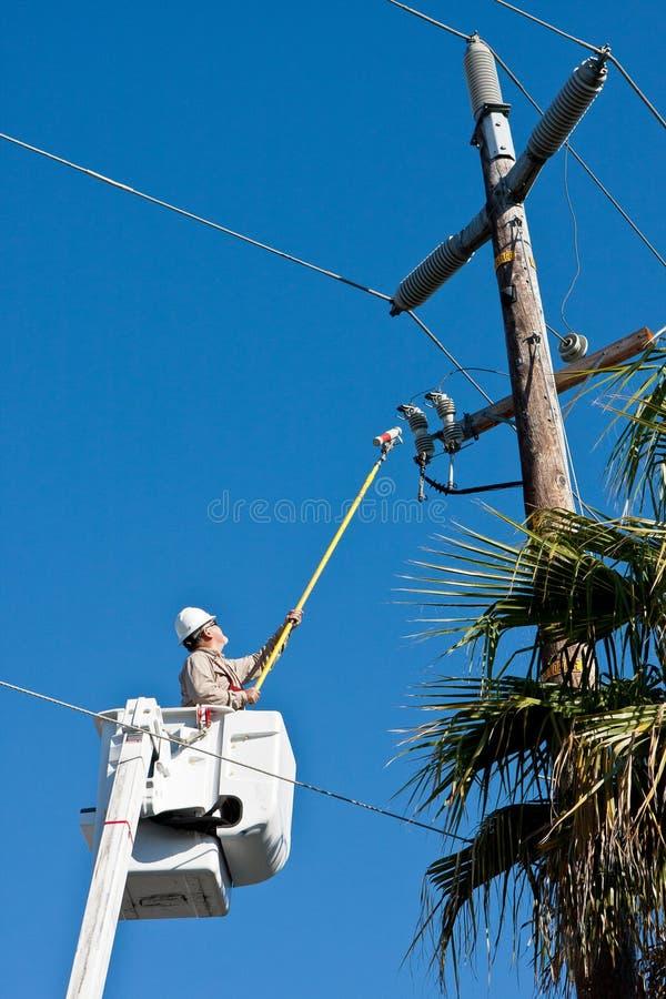 De elektro Arbeider van het Nut stock foto's