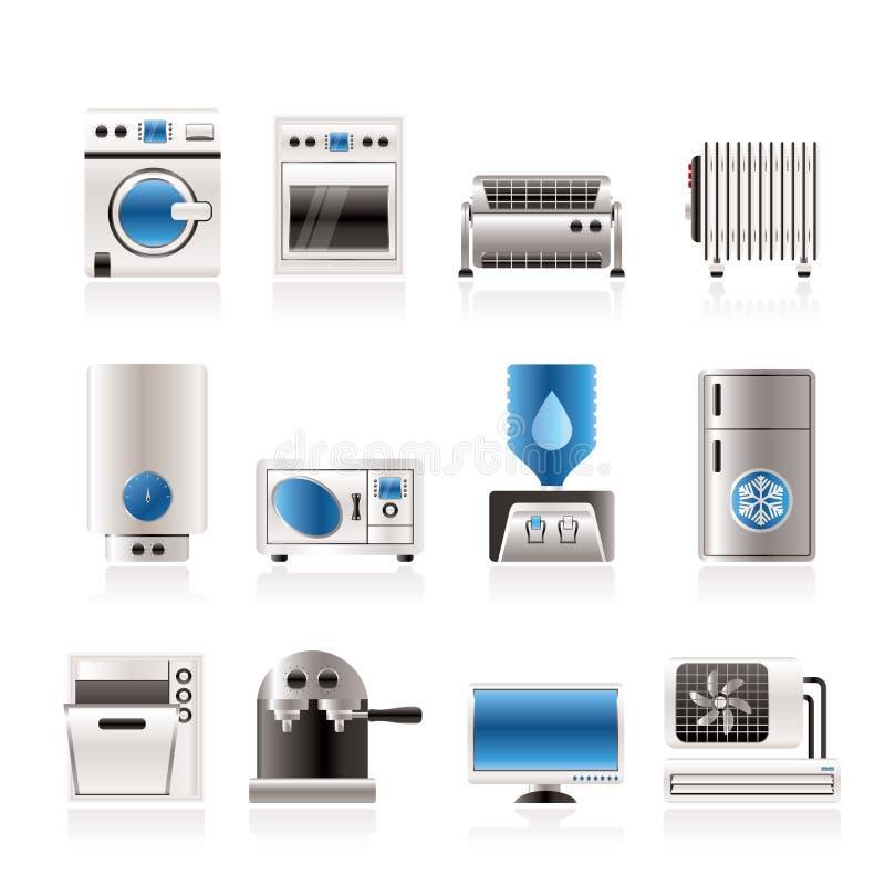 De elektronika en de apparatuur van het huis pictogrammen royalty-vrije illustratie