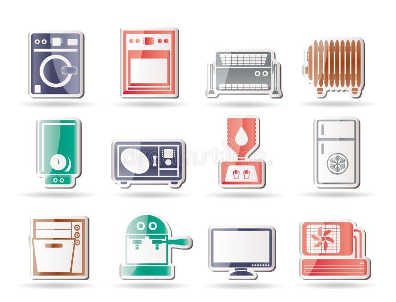 De elektronika en de apparatuur van het huis pictogrammen stock illustratie