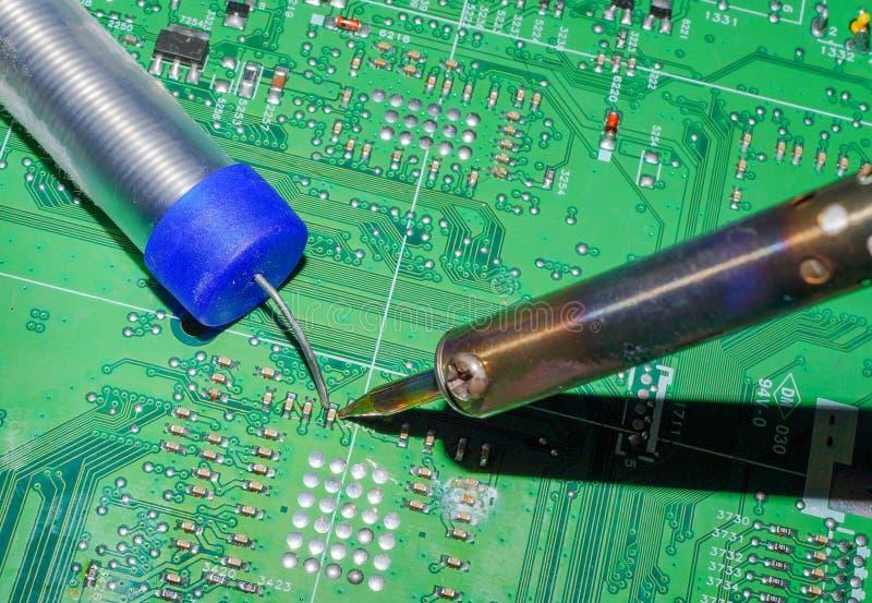 De elektronika verwerkende diensten, Motherboard digitale spaander Technologie-wetenschapsachtergrond stock fotografie
