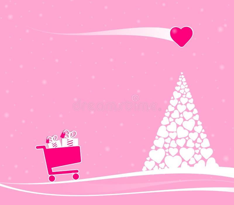De elektronische handelscène van Fairytalekerstmis met liefdekomeet vector illustratie
