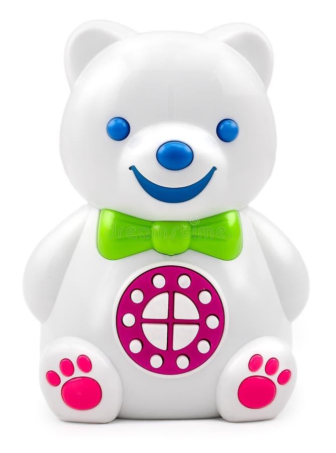 De elektronische interactieve kinderen` s stuk speelgoed spreker draagt met de controlebordknopen royalty-vrije stock foto