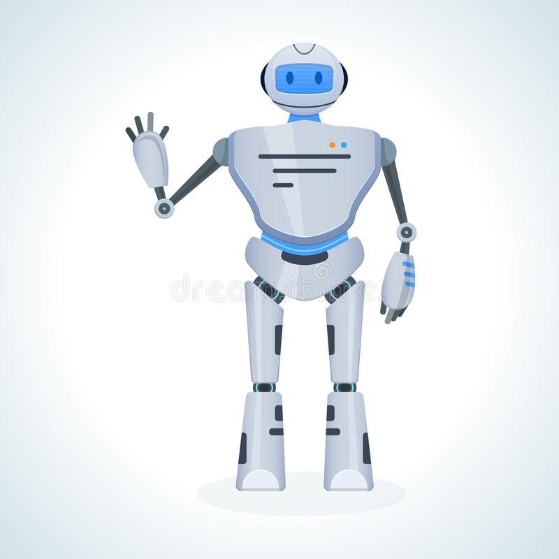 De elektronische robot, praatje bot, humanoid, stemt in omhoog met het opheffen van zijn hand vector illustratie