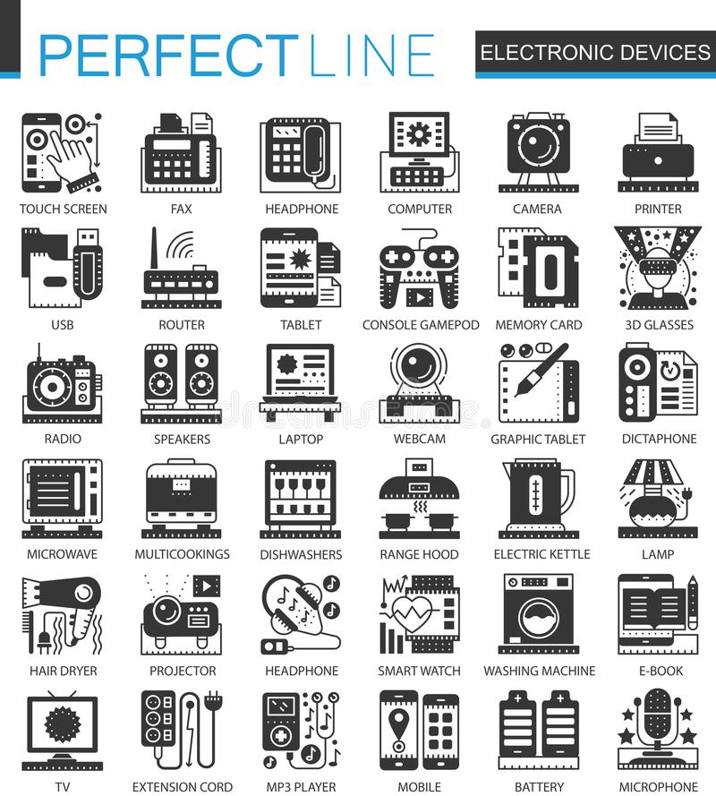 De elektronische symbolen van het apparaten klassieke zwarte miniconcept Vector geplaatste het pictogramillustraties van het gadg vector illustratie