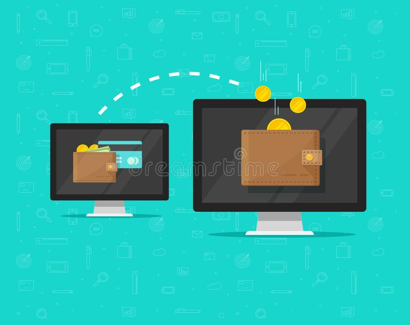 De elektronische vectorillustratie van de geldoverdracht, vlakke beeldverhaalstijl van twee computerspc met het digitale portefeu royalty-vrije illustratie