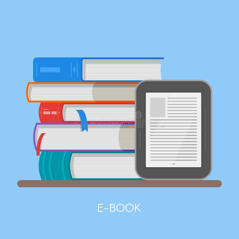 De elektronische vectorillustratie van het boekconcept in vlakke stijl Stapel van boeken en lezer stock illustratie
