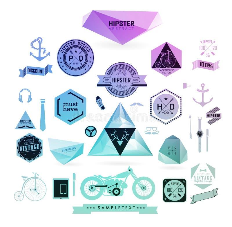 De elementen, de pictogrammen en de etiketten van de Hipsterstijl royalty-vrije illustratie