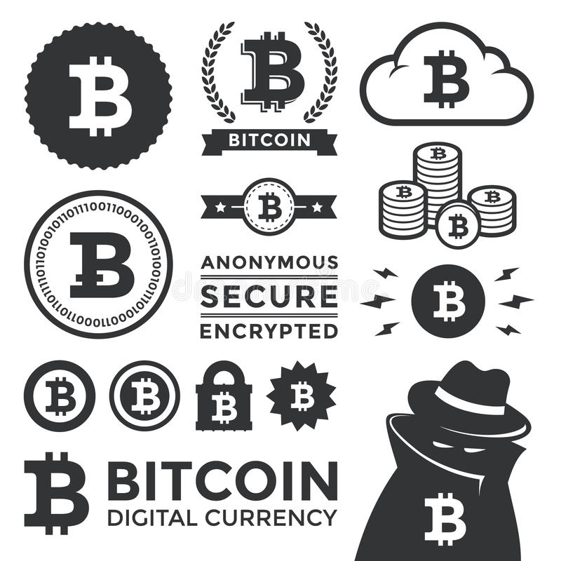 De Elementen en de Etiketten van het Bitcoinontwerp royalty-vrije illustratie