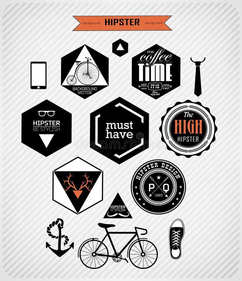 De elementen en de pictogrammen van de Hipsterstijl stock illustratie