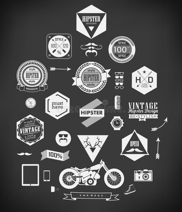 De elementen en de pictogrammen van de Hipsterstijl royalty-vrije illustratie