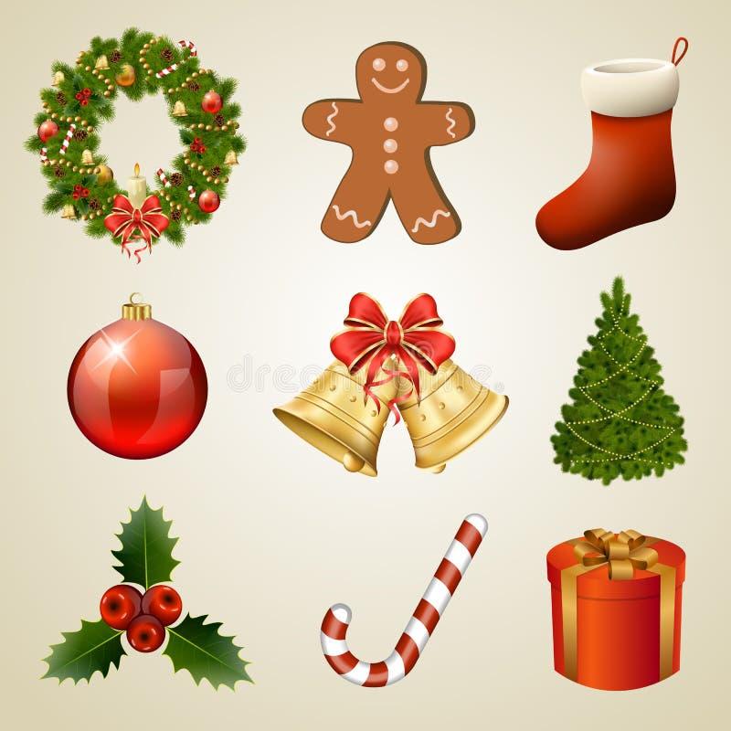 De elementen en de pictogrammen van het Kerstmisontwerp. Geplaatste Kerstmisdecoratie stock illustratie