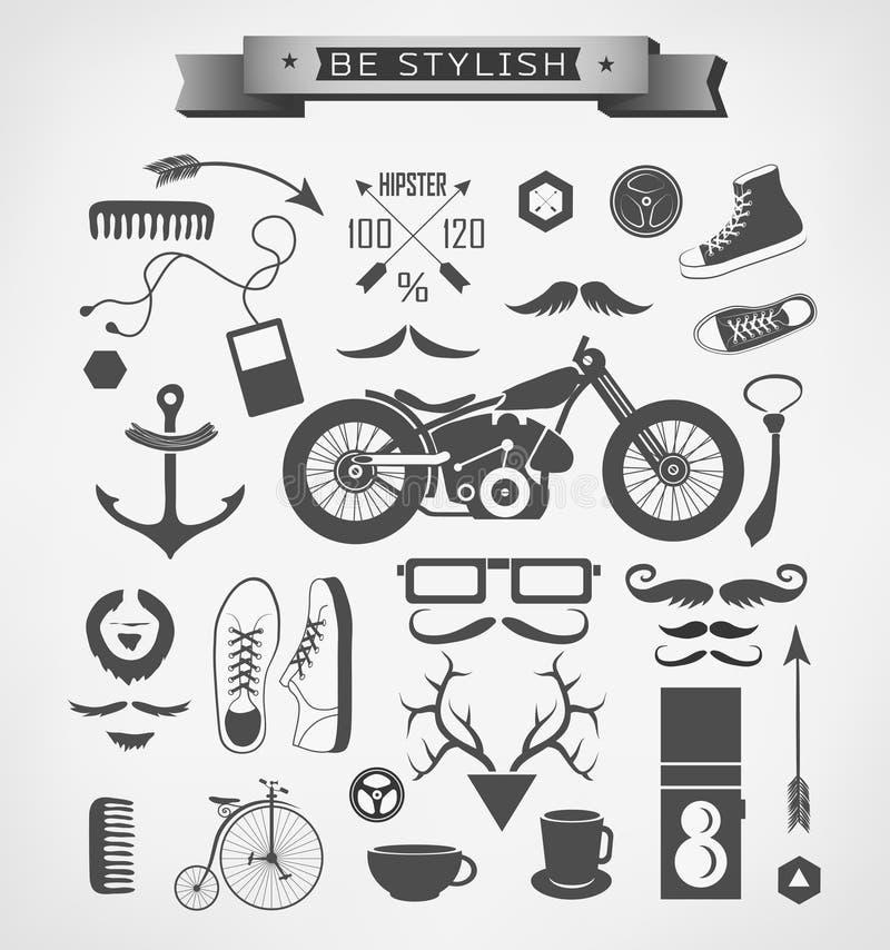 De elementen, het pictogram en het voorwerp van de Hipsterstijl kunnen zijn stock illustratie