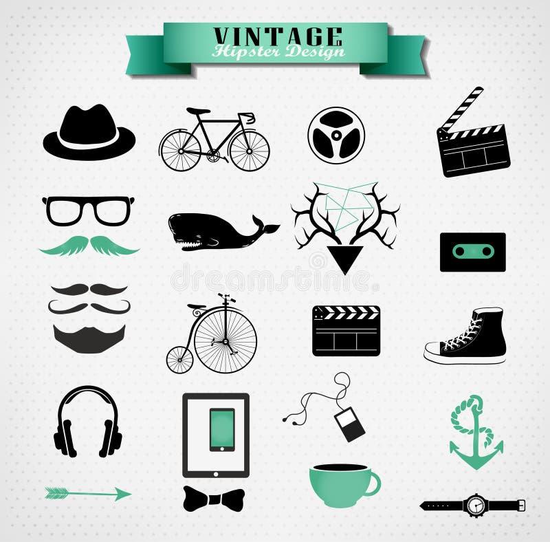 De elementen, het pictogram en het voorwerp van de Hipsterstijl kunnen zijn vector illustratie