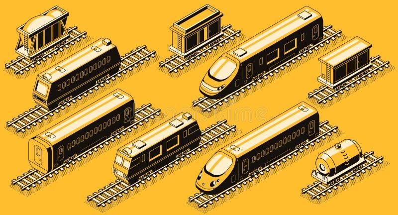 De elementen isometrische vectorreeks van de spoorwegindustrie royalty-vrije illustratie