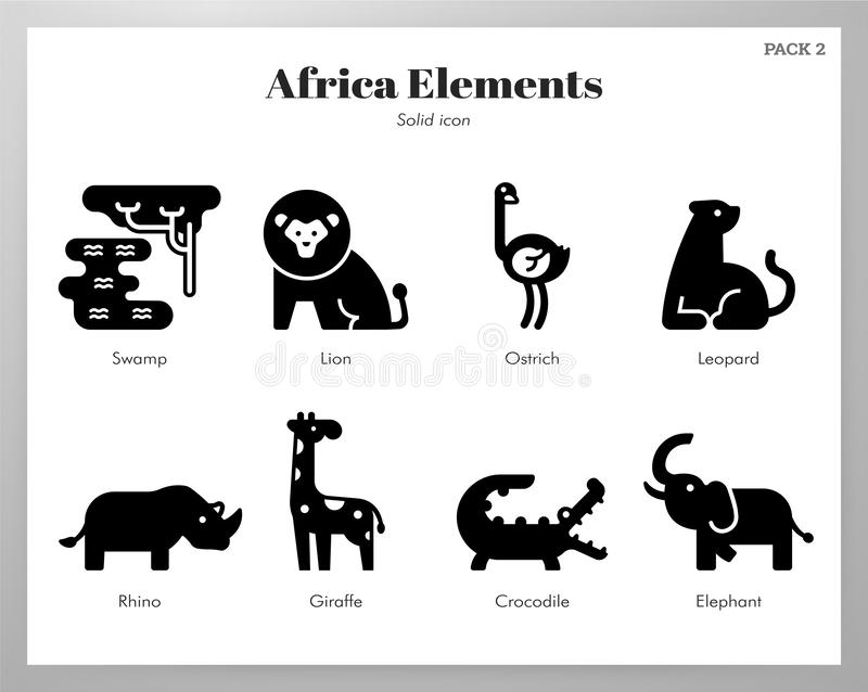 De elementen Stevig pak van Afrika stock illustratie