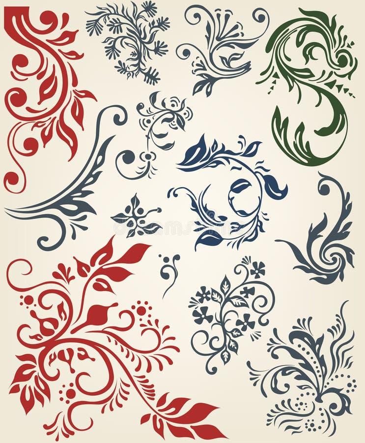 De elementen uitstekende reeks van het ornament royalty-vrije illustratie