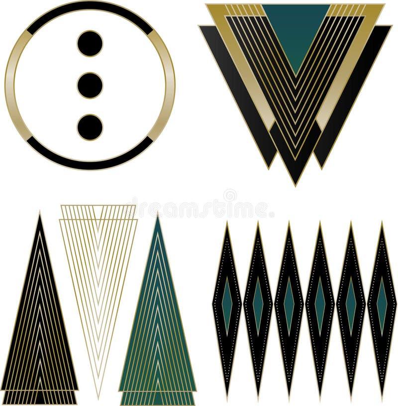 De Elementen van Art Deco Logos en van het Ontwerp royalty-vrije illustratie