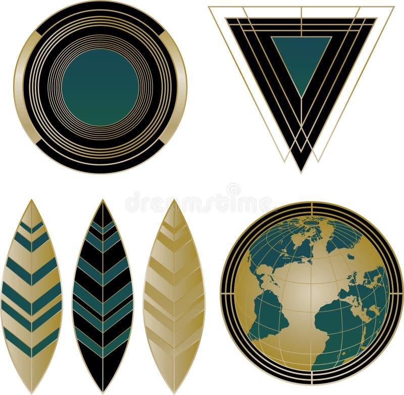 De Elementen van Art Deco Logos en van het Ontwerp stock illustratie