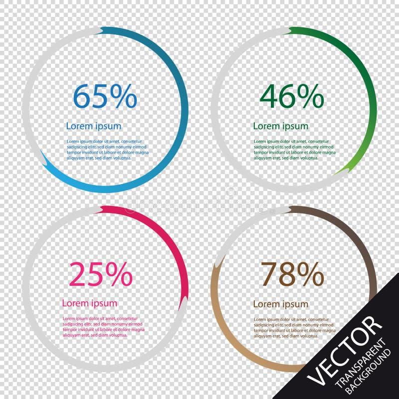 De Elementen van Cirkeldiagraminfographic - VectordieIllustratie - op Transparante Achtergrond wordt geïsoleerd stock illustratie