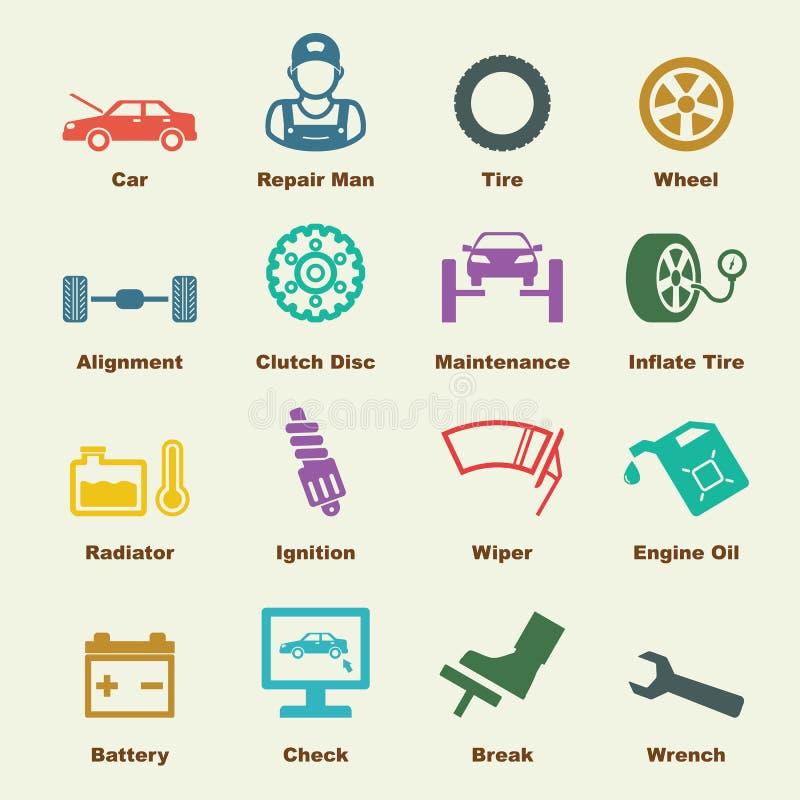 De elementen van de autodienst royalty-vrije illustratie