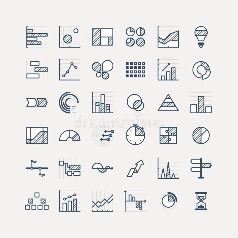 De elementen van de bedrijfsgegevensmarkt stippelen diagrammen van pasteigrafieken en de geplaatste grafieken vlakke pictogrammen royalty-vrije stock foto's