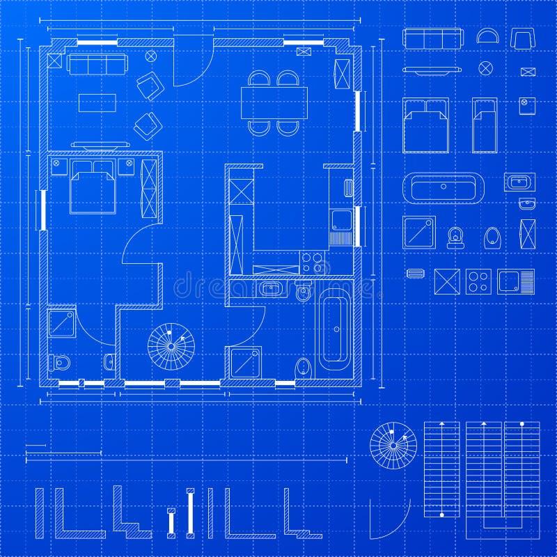 De elementen van de blauwdruk royalty-vrije illustratie
