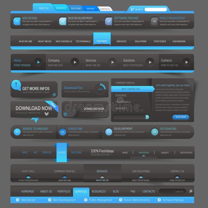De elementen van de het malplaatjenavigatie van het websiteontwerp royalty-vrije illustratie