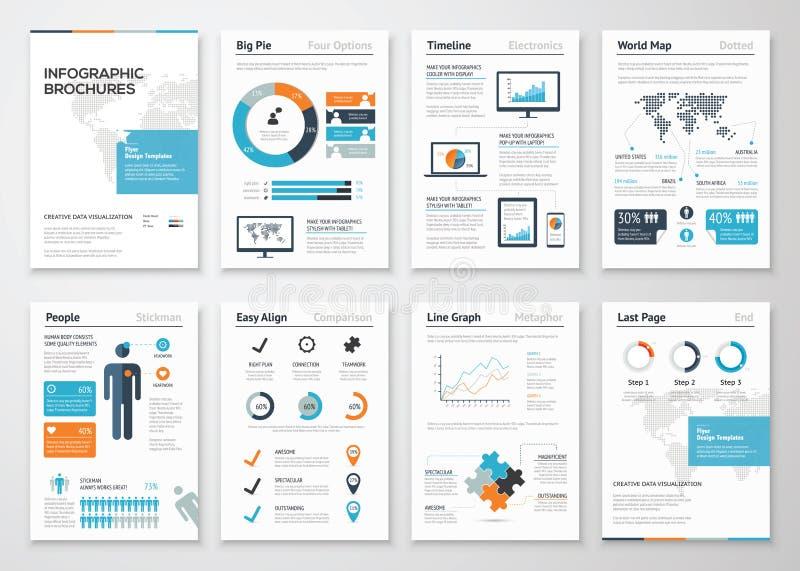De elementen van de Infographicbrochure voor bedrijfsgegevensvisualisatie stock illustratie