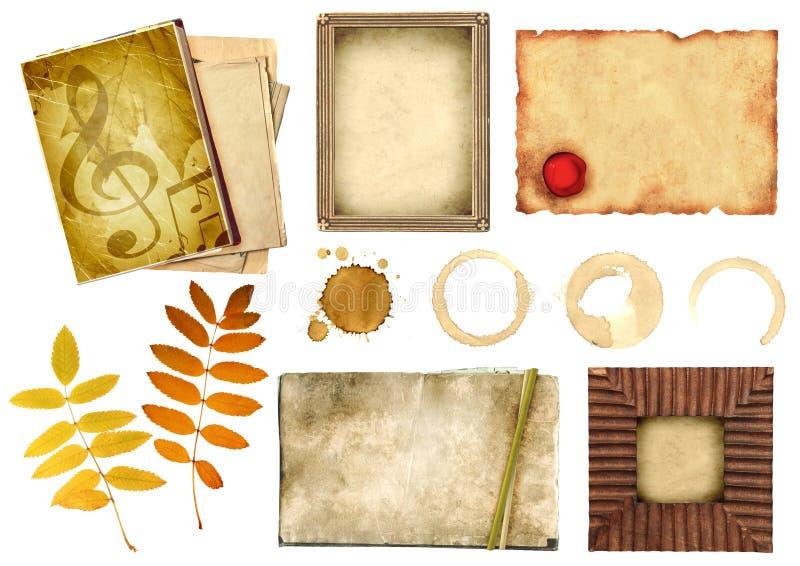 De elementen van de inzameling voor het scrapbooking stock afbeeldingen