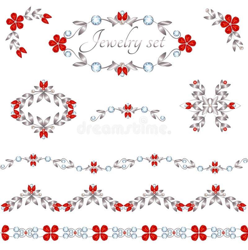 De elementen van de juwelendecoratie vector illustratie