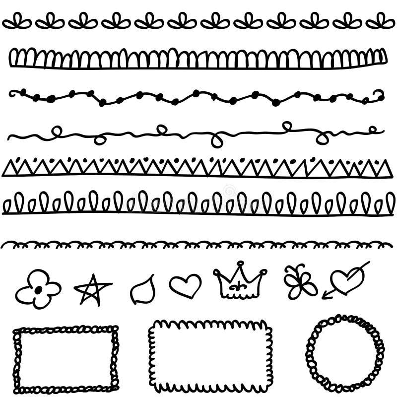 De elementen van de krabbel vector illustratie