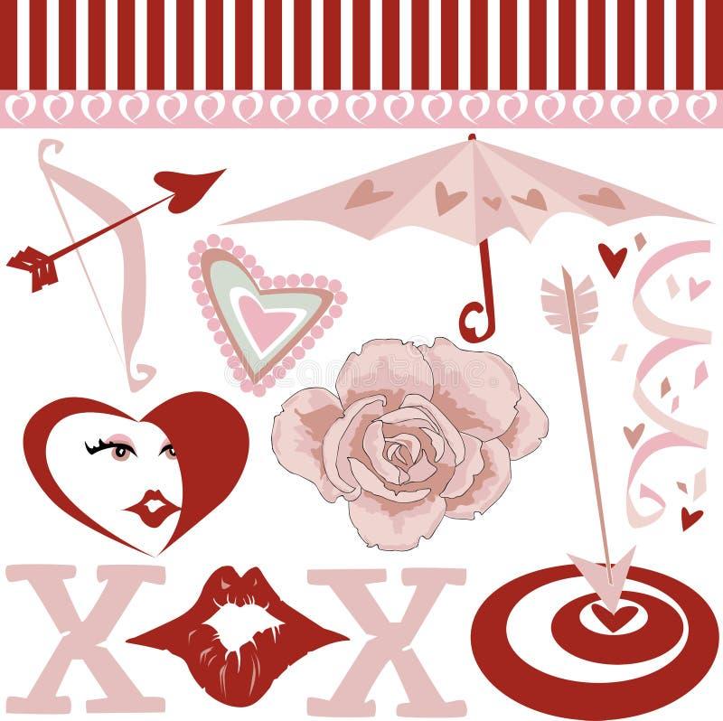 De elementen van de valentijnskaart royalty-vrije illustratie