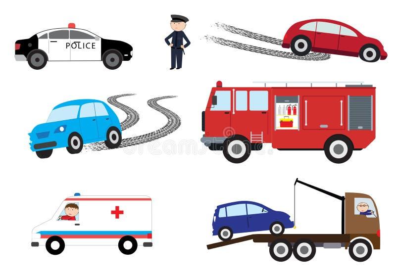 De elementen van het autoongeval - vectorillustratie stock illustratie